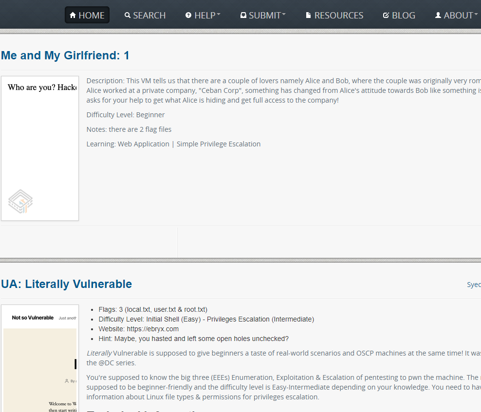 Vulnhub漏洞环境的靶场平台