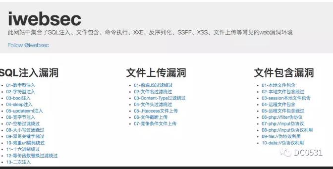 iwebsec靶场网络安全知识库