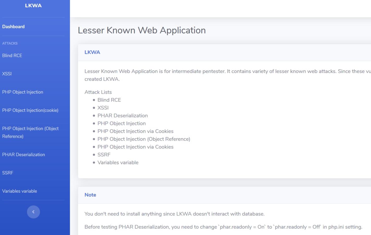 冷门的WEB安全测试靶场LKWA